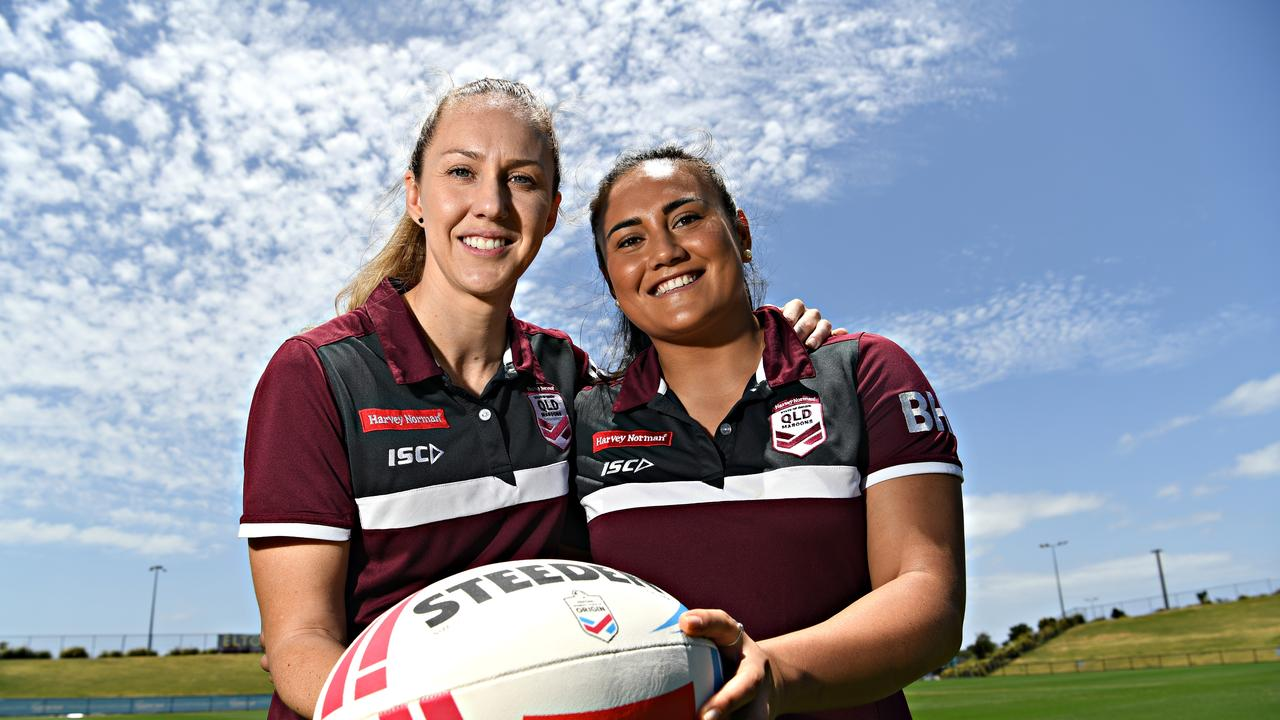 The 2020 Holden Women's State of Origin match will be held at Sunshine Coast Stadium. Queensland players Karina Brown and Annette Brander ready the game. Photo: Warren Lynam
