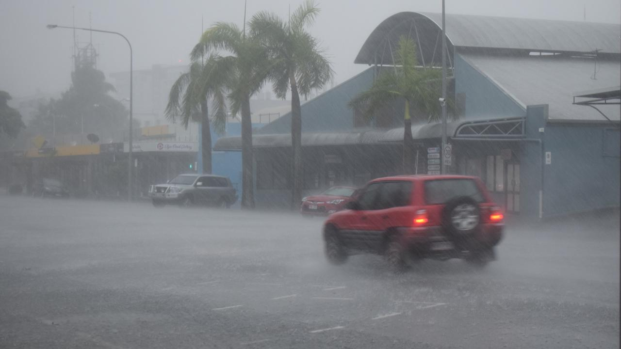 STORM IMPACT: Rockhampton's CBD pelted with rain after a storm cell passed over this afternoon.