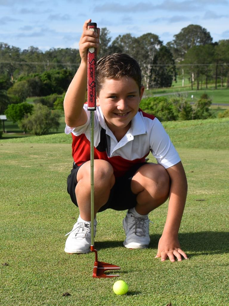 Gympie golfer Chase Rendell practices he putting at Gunabul Homestead - Accommodation and Golf Course. Photo: Bec Singh
