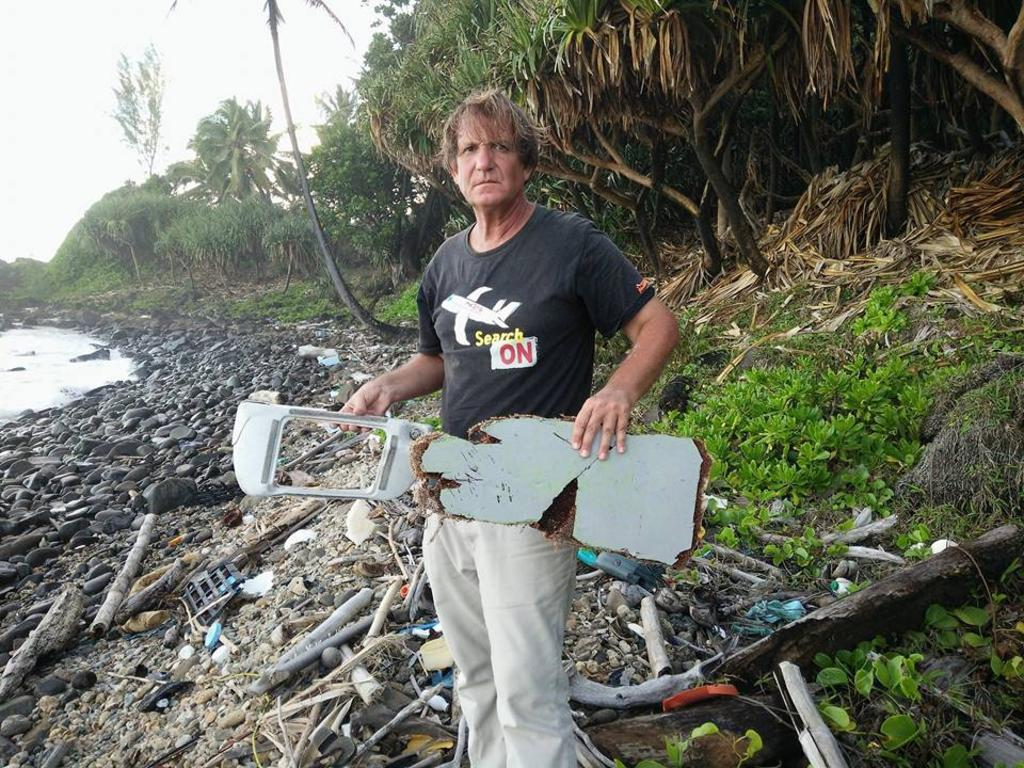 Independent MH370 investigator Blaine Gibson with more debris discovered on Riake Beach, Madagascar. Picture: Facebook