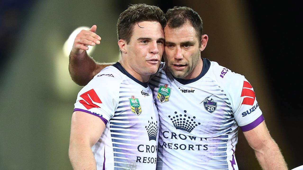 Brodie Croft has denied rumours he fell out with Storm captain Cameron Smith. Picture: Getty Images.