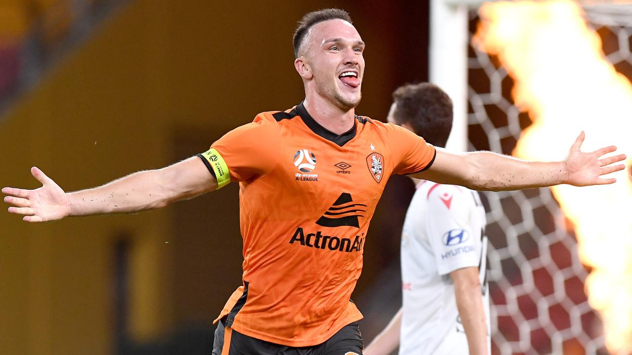 Thomas Aldred celebrates his goal, which proved to be the winner, against Adelaide United. Picture: Getty Images