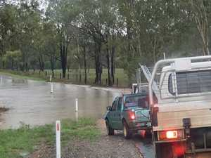 Road affected by heavy rain