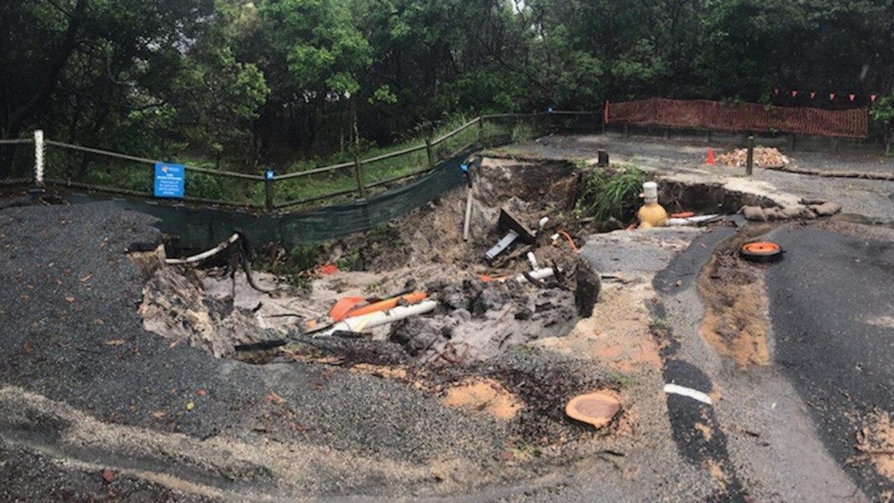 A campervan got stuck in a sinkhole near Byron Bay.