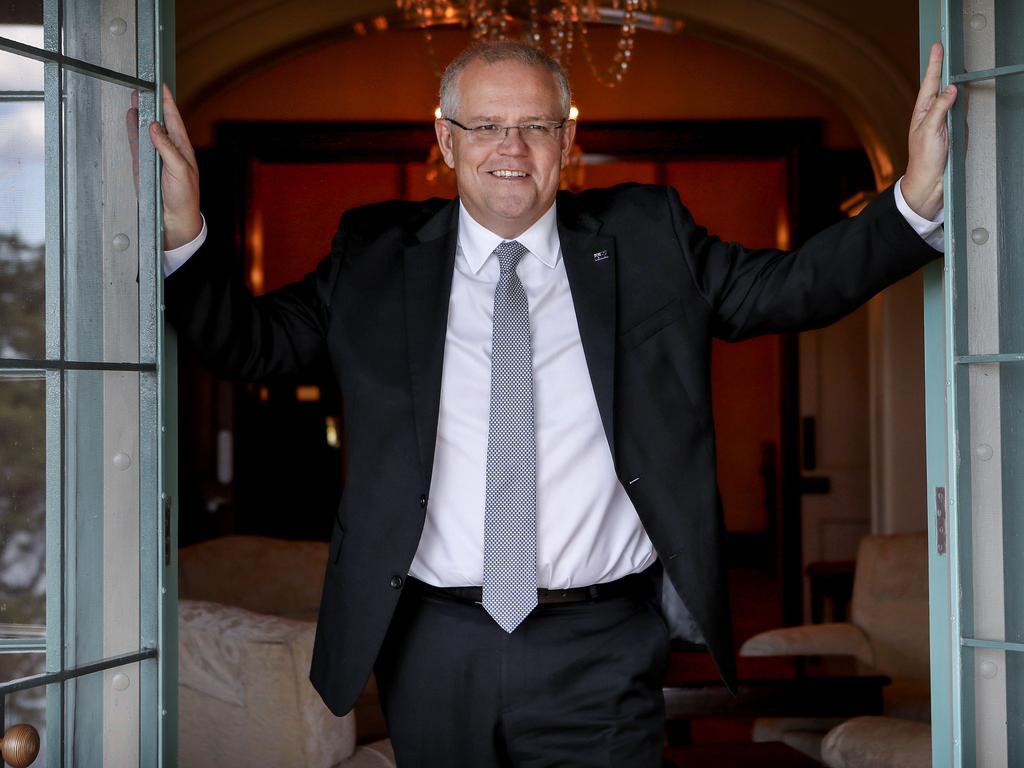 Prime Minister Scott Morrison at Kirribilli House. Picture: Hollie Adams