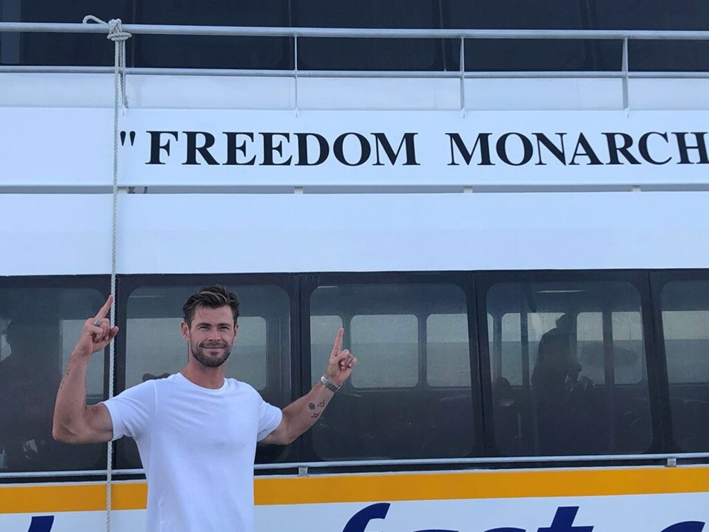 CELB SPOTTED: Aussie actor Chris Hemsworth was photographed on the Capricorn Coast about to take a ride on the Freedom Fast Cats' 'Freedom Monarch' to GKI.