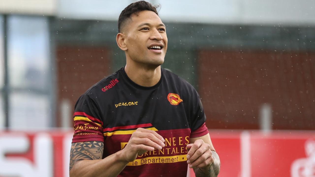 Israel Folau trains with Catalan Dragons in Perpignan, France on Wednesday (local time). Picture: Catalans Dragons/AP