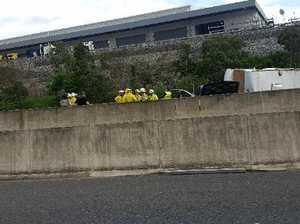 Caravan flips on motorway