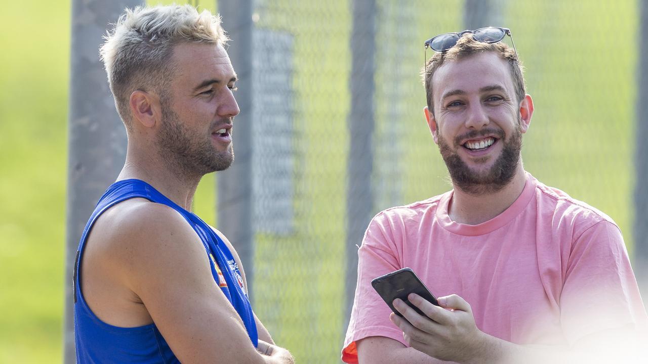 Matt Suckling chats with reporter Sam Landsberger at Whitten Oval. Picture: Tim Carrafa