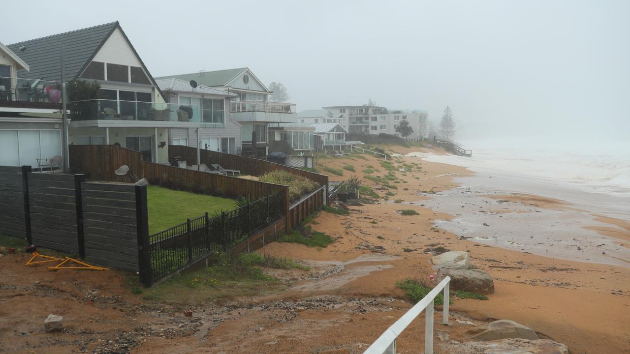 Erosion returns to Collaroy on Sunday. Picture: John Grainger