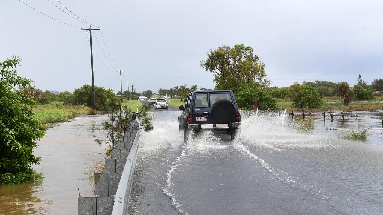 FLOODING: Hermans Road, Burnett Heads was covered with water on February 6.