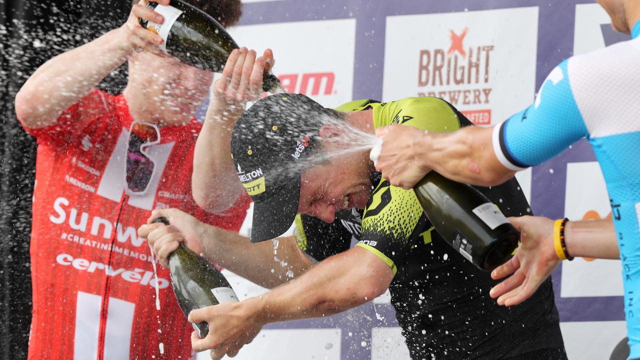 Kaden Groves of Mitchelton-Scott gets a champagne shower. Picture: Michael Klein