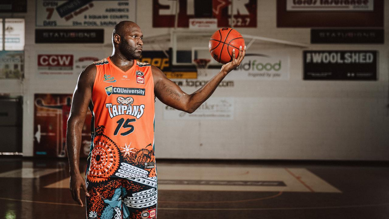 Nate Jawai in Cairns' indigenous uniform from earlier this season. He has been nominated for the NBL's Best Sixth Man award