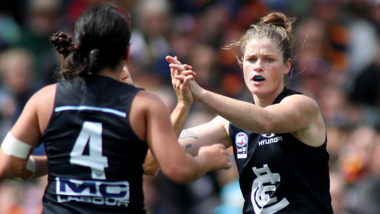 Brianna Davey in action for Carlton in last season's AFLW grand final.