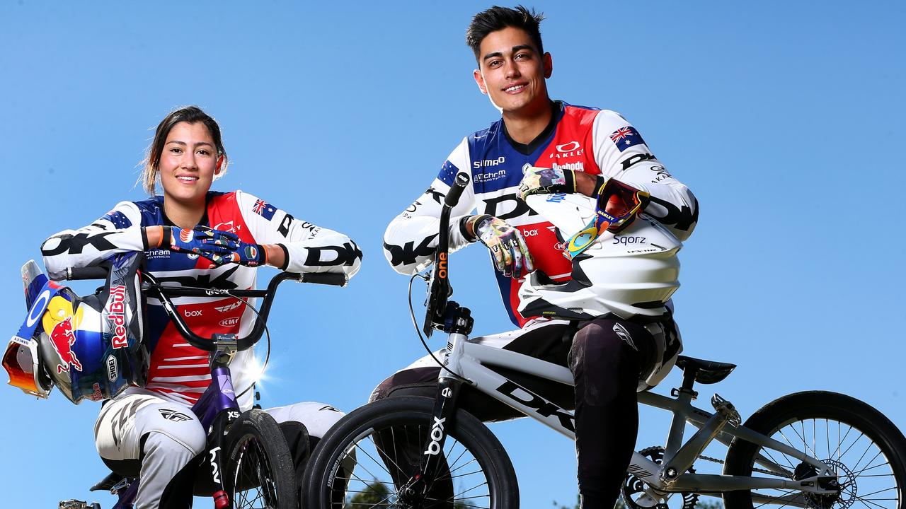 SATURDAY COURIER MAIL Sibling BMX riders Kai and Saya Sakakibara on the Gold Coast. The pair are on track for the Tokyo Olympics. Pics Adam Head