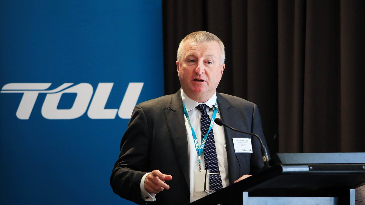 Toll Holdings chief executive Michael Byrne speaking at an American Australia chamber of commerce luncheon in 2018. The company is struggling to overcome a malware attack. Aaron Francis/The Australian