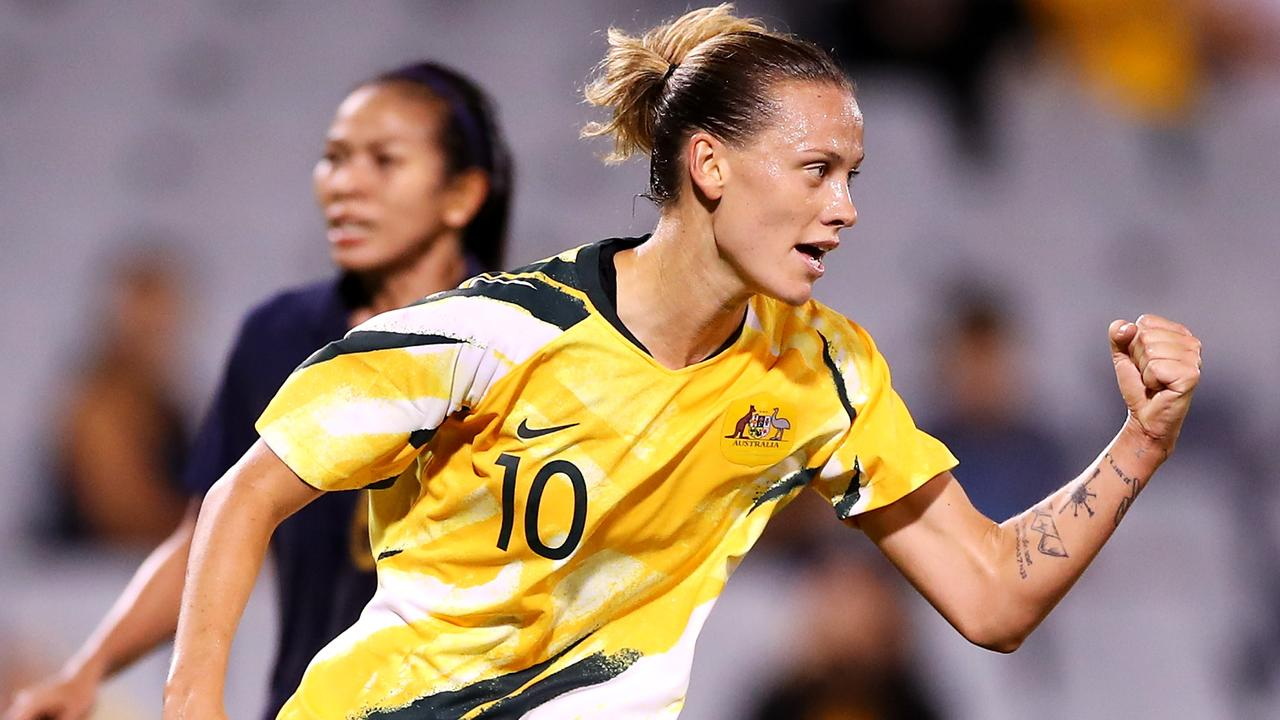 SYDNEY, AUSTRALIA – FEBRUARY 10: Emily van Egmond of the Matildas celebrates scoring a goal during the Women's Olympic Football Tournament Qualifier match between Thailand and the Australian Matildas at Campbelltown Sports Stadium on February 10, 2020 in Sydney, Australia. (Photo by Mark Kolbe/Getty Images)