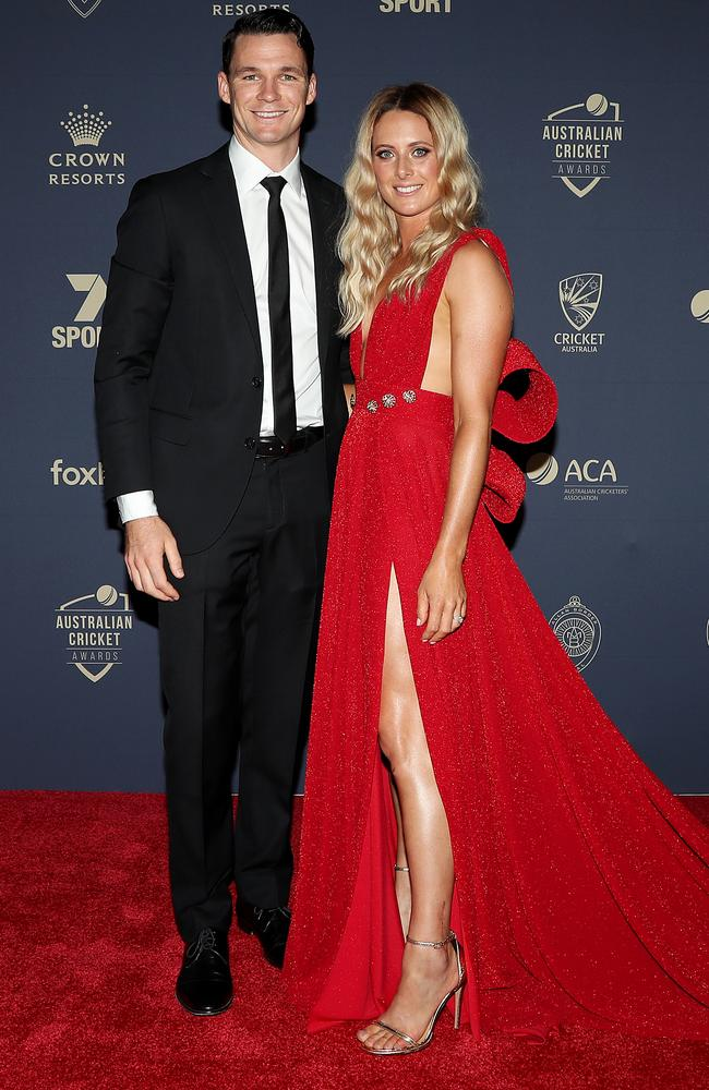 Peter Handscomb and wife Sarah Ray. Picture: Getty Images