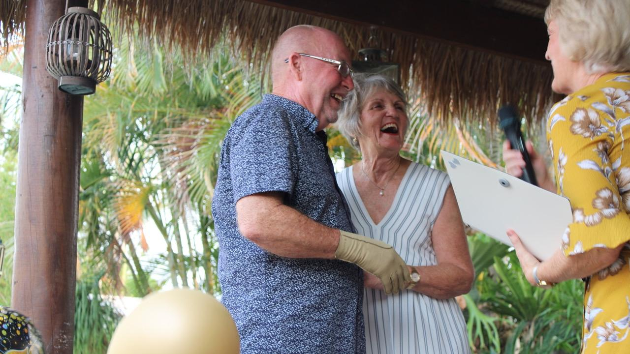 Paul and Lorraine Lannen exchanging vows at their joint 70th birthday party to the surprise of family and friends.