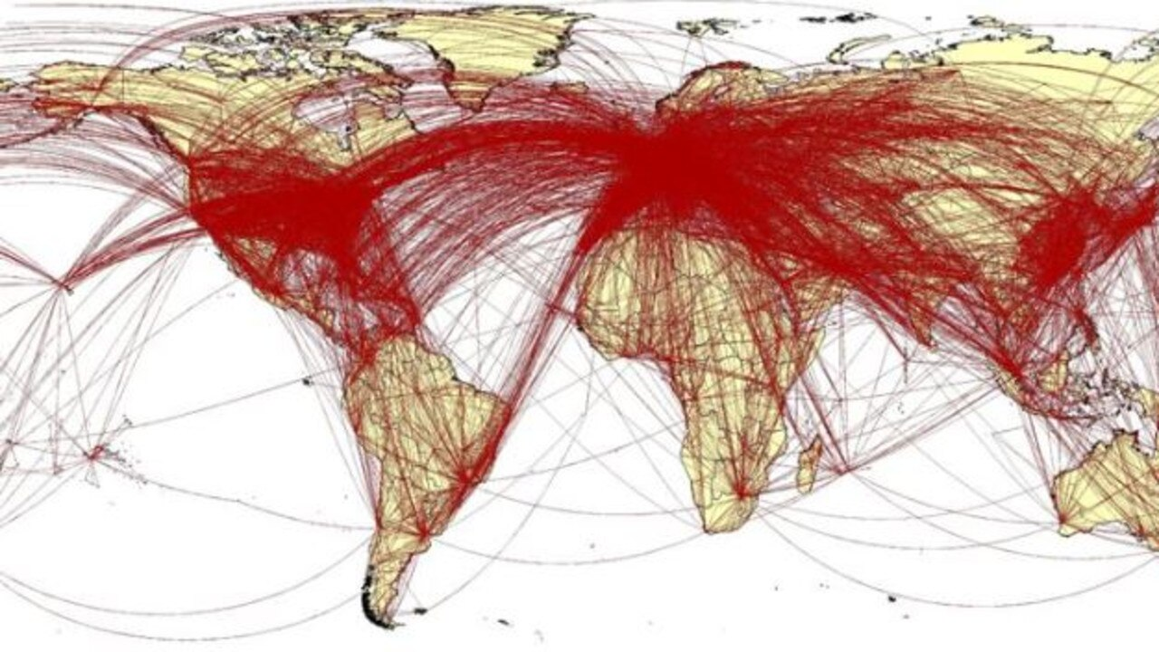 This map shows staggering potential reach of the new coronavirus based on flight data of thousands who fled Wuhan in two weeks before lockdown. Picture: WorldPopProject