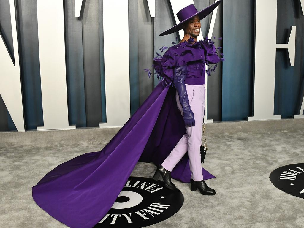 Billy Porter attends the 2020 Vanity Fair Oscar Party with another outfit change. Picture: Getty