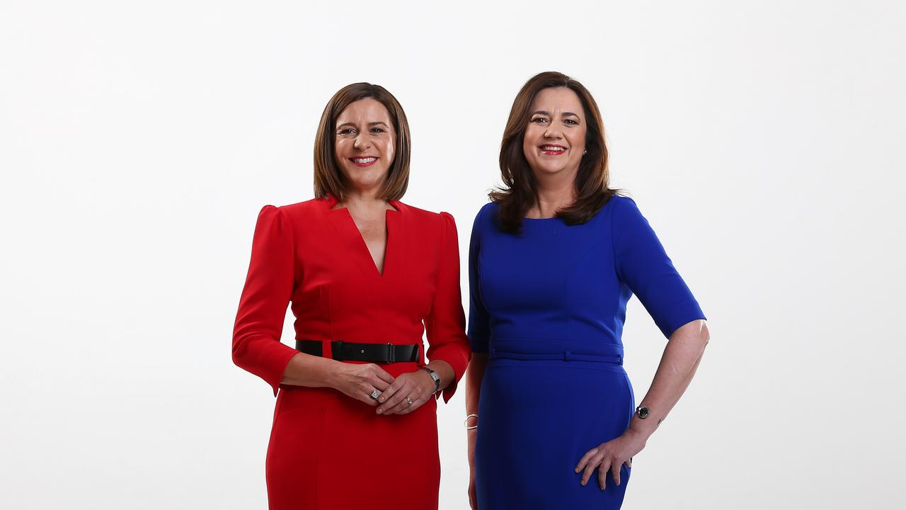 Deb Frecklington, leader of the Liberal National Party with Premier Annastacia Palaszczuk. Both politicians are unpopular with the voters of Queensland. Picture Adam Head