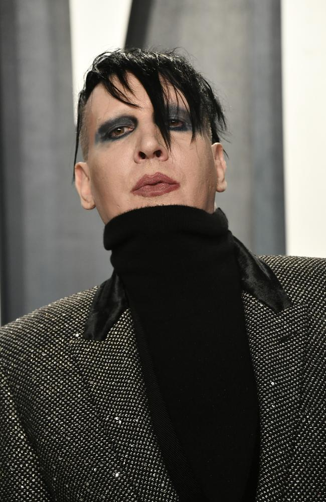 Marilyn Manson attends the 2020 Vanity Fair Oscar Party with a very high-chin outfit. Picture: Getty