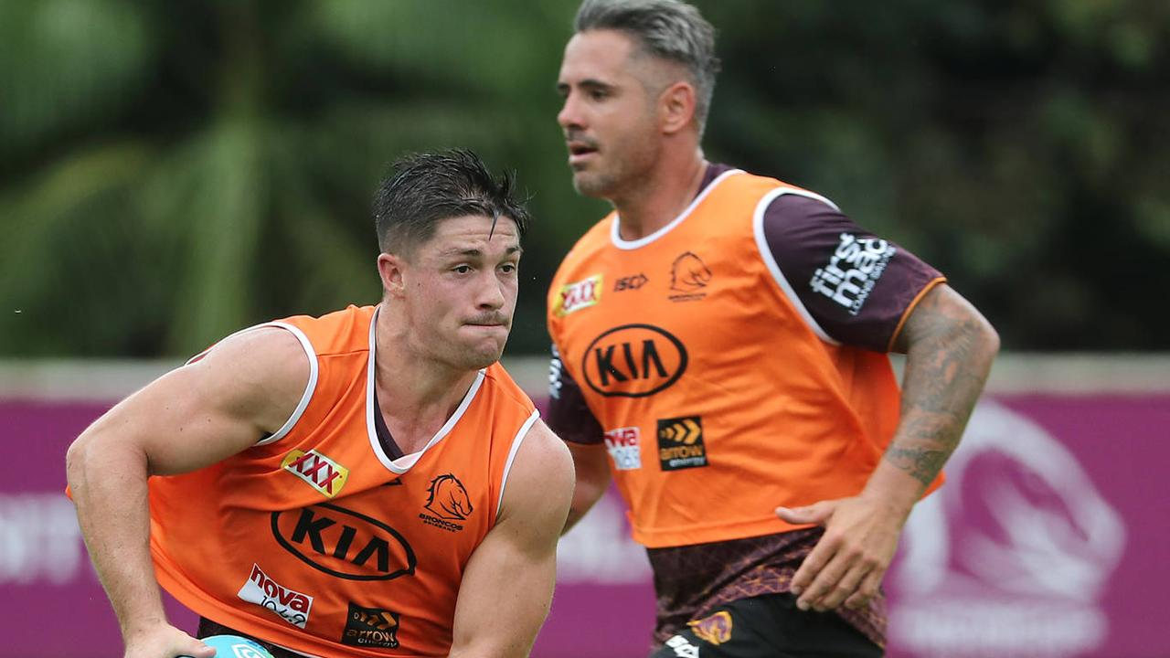 Cory Paix and Corey Parker at Brisbane Broncos training ahead of their 2020 NRL Nines campaign. Picture: Peter Wallis.