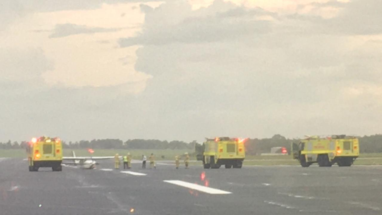An Air Frontier plane closed the runway of the Darwin International Airport when it landed without its landing gear down. Picture: Supplied
