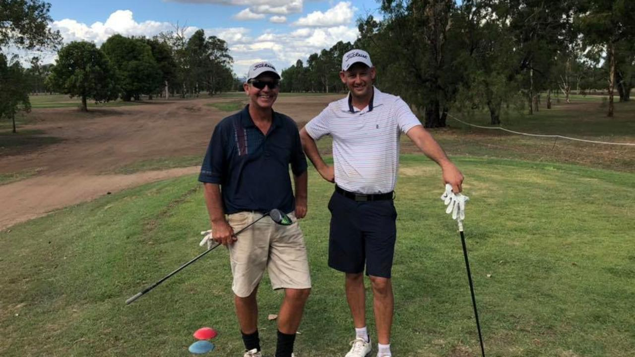 CLOSE CALL: Adam Mollis (right) nailed a birdie on hole five to beat Steve Deitrich (left) in a playoff for the A grade crown.