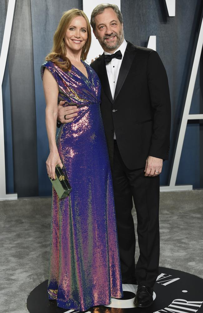Leslie Mann, left, and Judd Apatow arrive at the Vanity Fair Oscar Party. Picture: AP