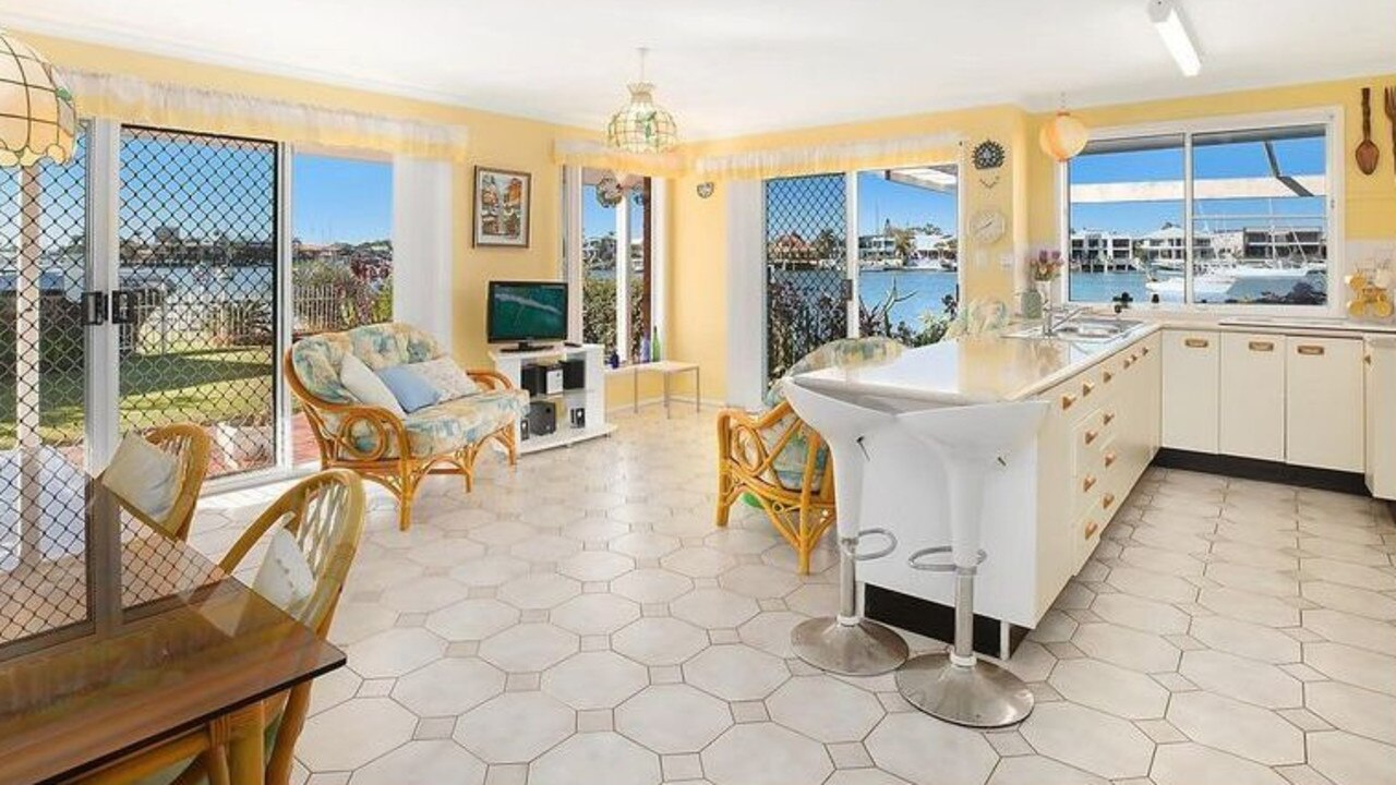 The open plan living room and kitchen of the $3.1m home.