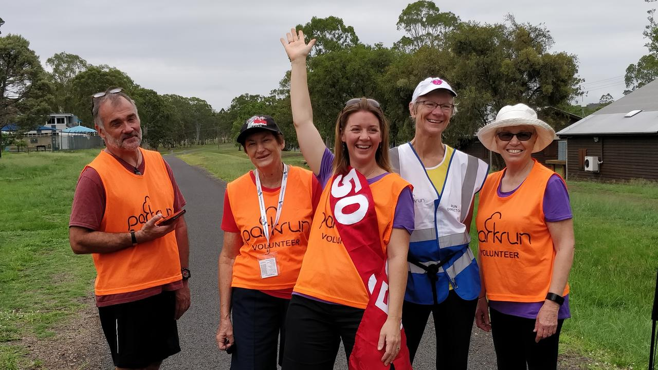 EARLY MORNING: Wondai parkrun volunteers Grant Milligan, Margaret Burrows, Naomi Andersen, Ros Heit and Betty Jay at the 7am start line. Photo: Contributed by Ros Heit