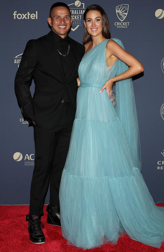 Usman Khawaja and wife Rachel. Picture: Getty Images