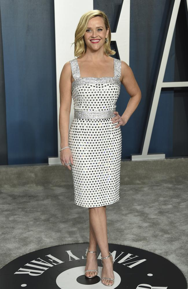 Reese Witherspoon arrives at the Vanity Fair Oscar Party. Picture: AP