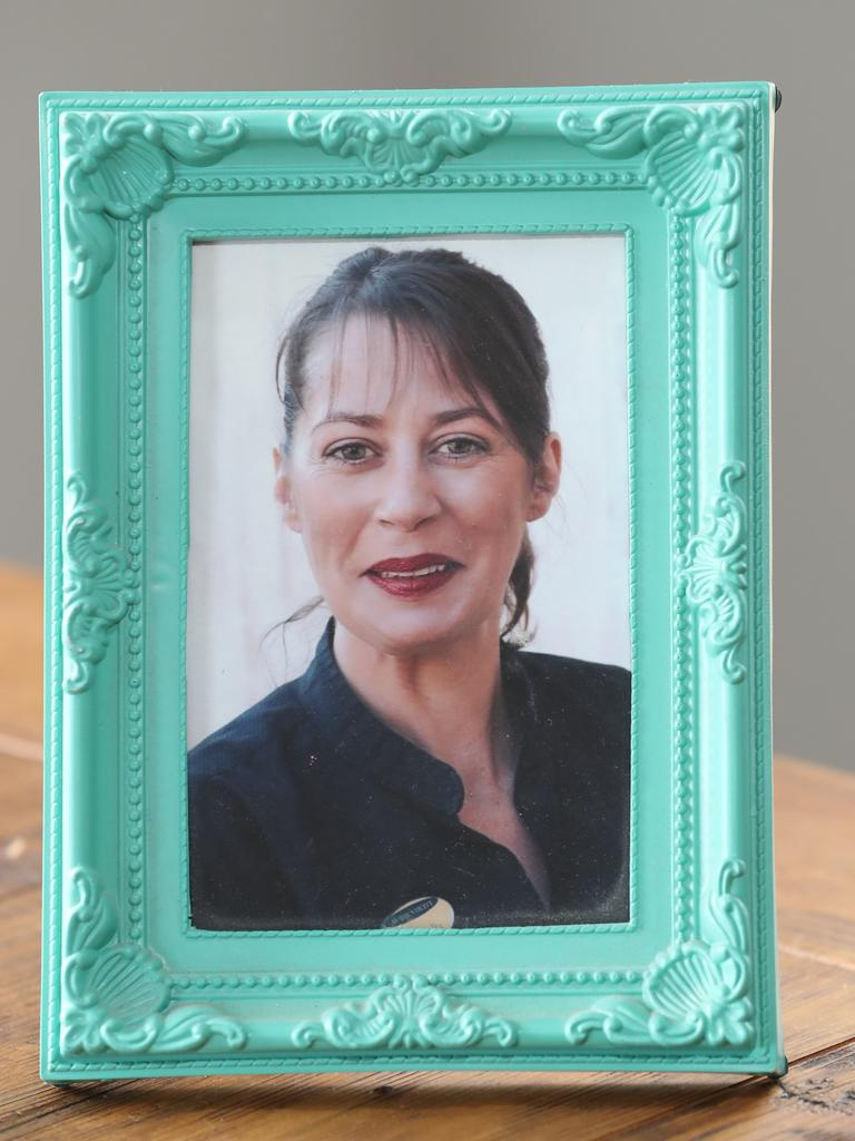 A framed photo of Graziella Dailler, was murdered by her de facto partner in Encounter Bay in May 2014. Picture: Dylan Coker
