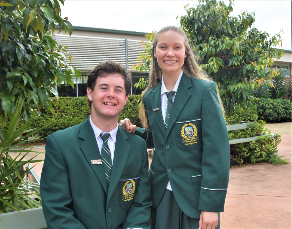 MEET THE CAPTAINS: Noosa District State High School Year 12 school leaders for 2020, Tyson Gamble and Nicole Barker. Photo: Caitlin Zerafa