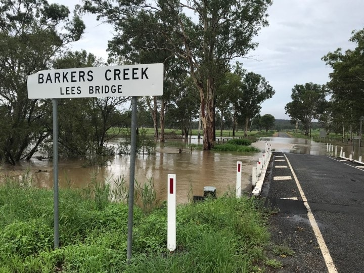 FLOODED: Police found an abandoned vehicle in floodwaters along the Burnett Highway near Nanango.