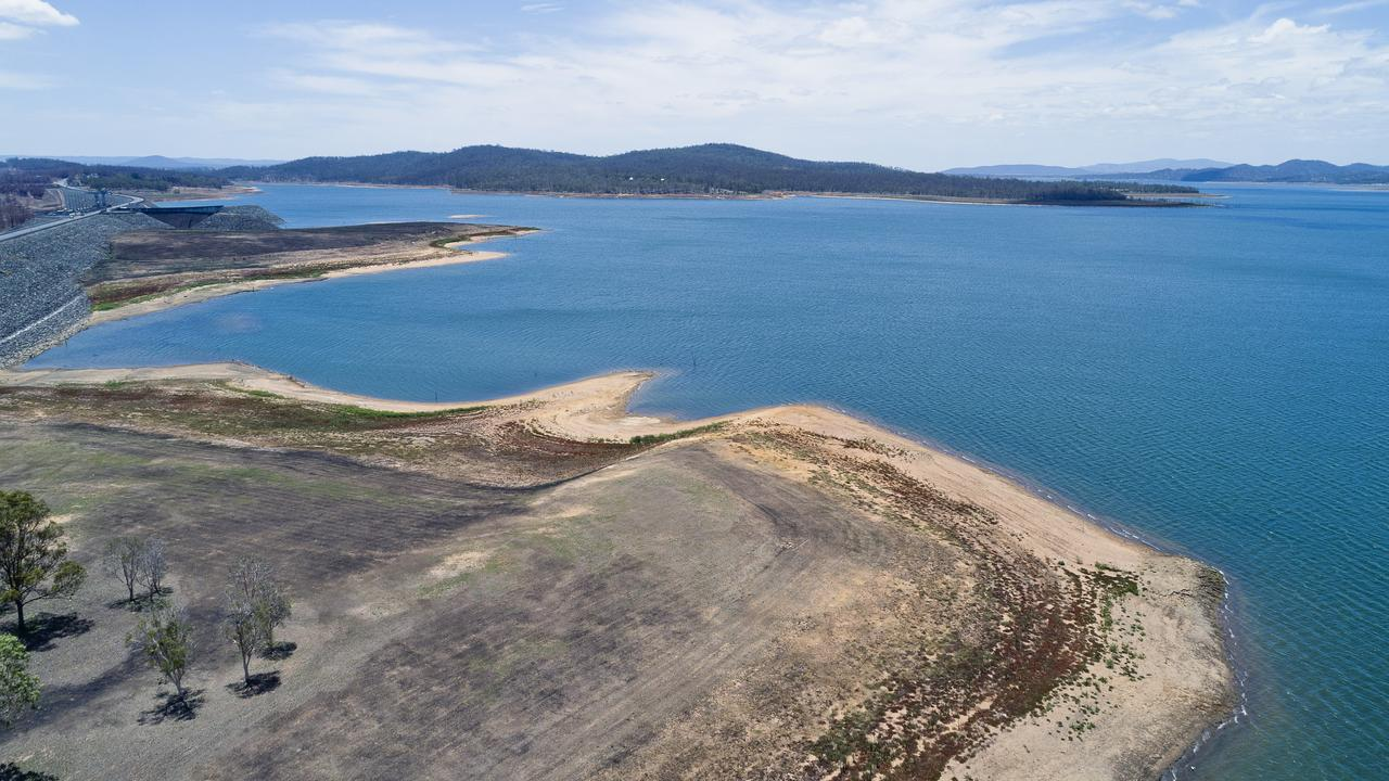 Lake Wivenhoe drone photos taken on December 30, 2019, when the dam was about 42 per cent full. It has since risen to 44.5 per cent Picture: Cordell Richardson