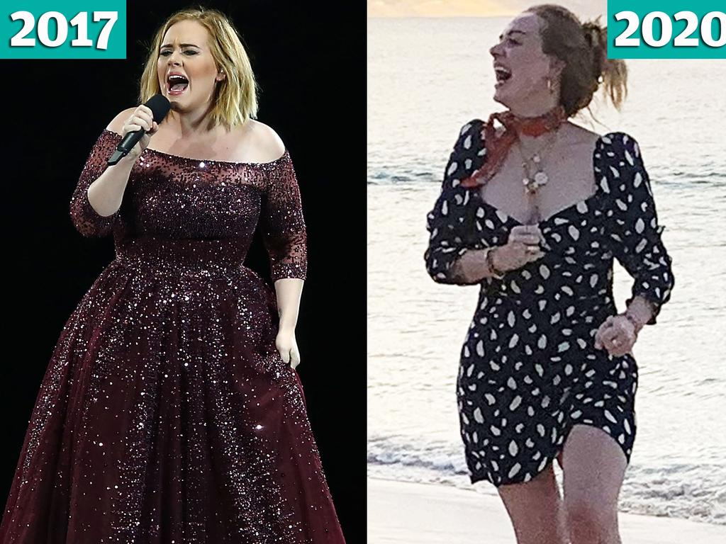 British hit maker Adele in 2017 (pictured left) and 2020. Picture: Getty Images/Backgrid