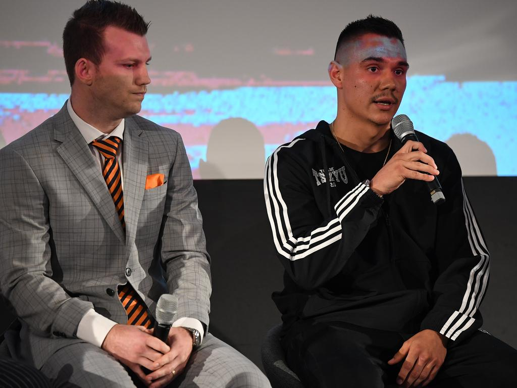 Tim Tszyu (right) and Jeff Horn speak to the media in Sydney. (AAP Image/Joel Carrett)