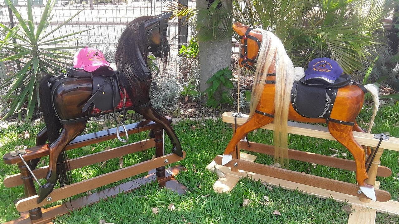 Each of Mr Smith's rocking horses is adorned with leather features and real horsehair