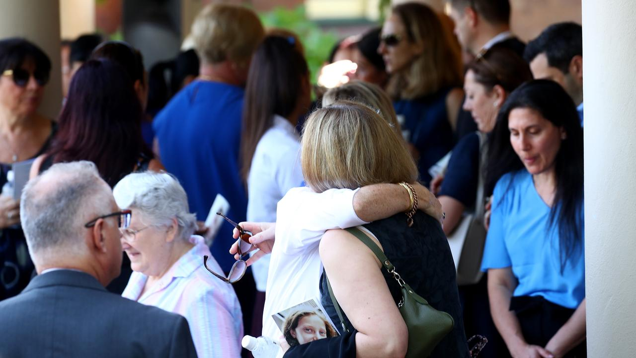 The funeral for Veronique Sakr who was killed by an allegedly drunk driver while walking on a suburban street in Oatlands, is held at Santa Sabina Chapel in Strathfield. Friends and relatives arrive for the service. Picture: Toby Zerna