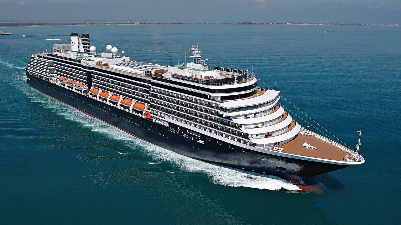 The Westerdam cruise ship, isolated at sea for 11 days. Picture: Holland America