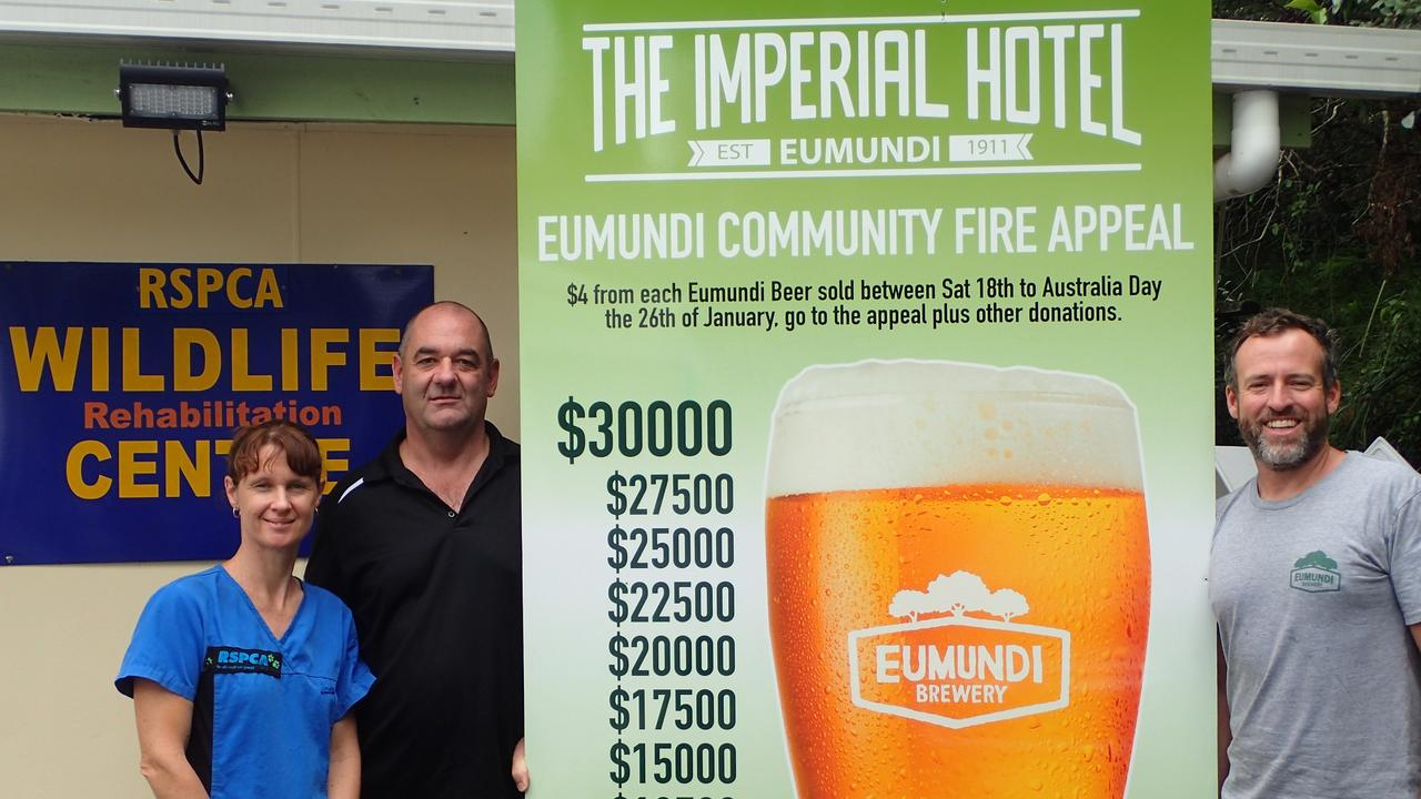 Vicky Toomey, from the RSPCA Wildlife Rehabilitation Centre in Eumundi, with The Imperial Hotel's Paul Thomas and Chris Sheehan.