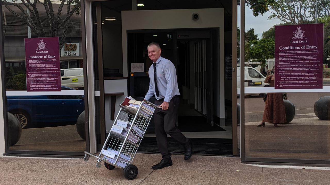 Prosecutor David Morters SC leaving Darwin Local Court after Lorenzo Deegan was committed to stand trial. Picture: Sarah Matthews