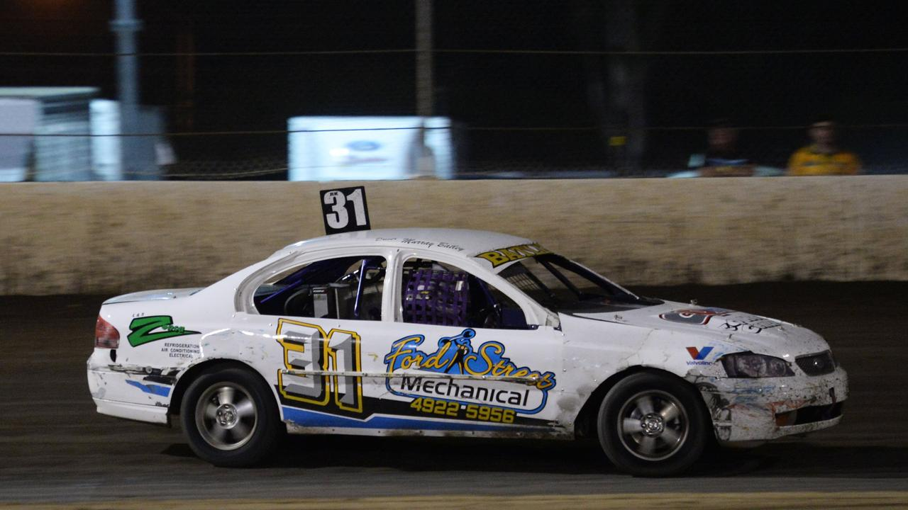 Murray Batley driving in the Street Stocks at Rockhampton Speedway.