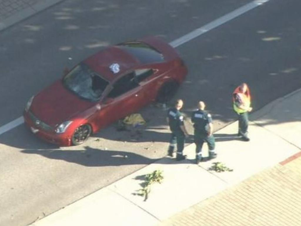 Ms Hishmeh's car after the crash, with a hole in the windscreen. Picture: 9News