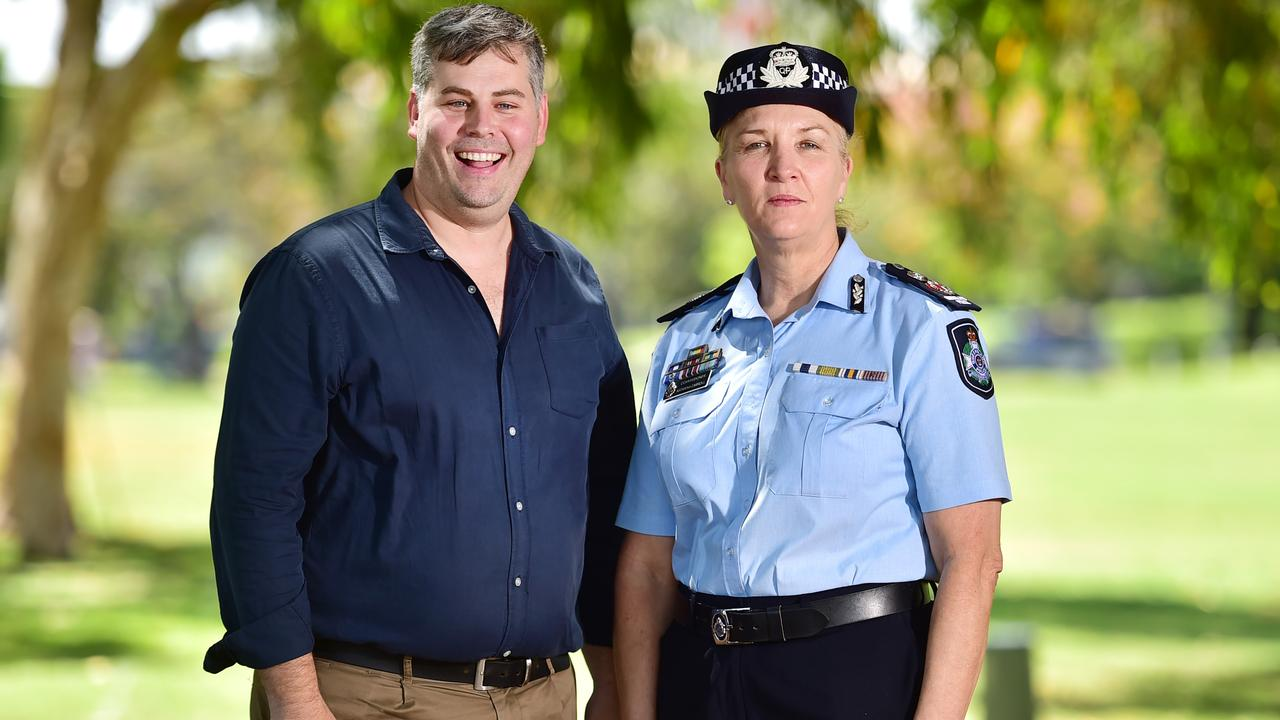 Minister for Police and Minister for Corrective Services Mark Ryan and Queensland Police Commissioner Katarina Carroll in Townsville. Picture: Alix Sweeney