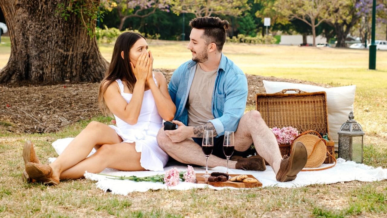 A picnic in the park turned into a joyous occasion for lovers Kye Dinte and Isabella Morzone.